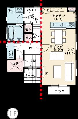 家事スペース充実 1F